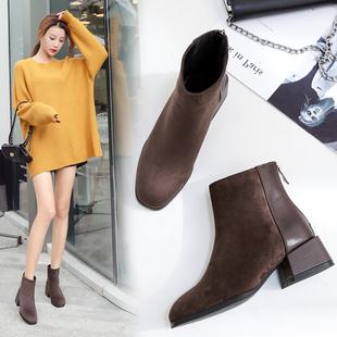 短靴女2018新款秋冬加绒瘦瘦靴粗跟