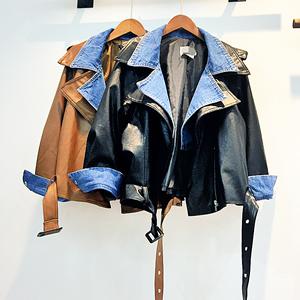 Trạm châu âu 2017 đầu mùa thu mới denim khâu giả hai mảnh da áo khoác ngắn nữ lỏng lẻo hoang dã áo khoác thủy triều
