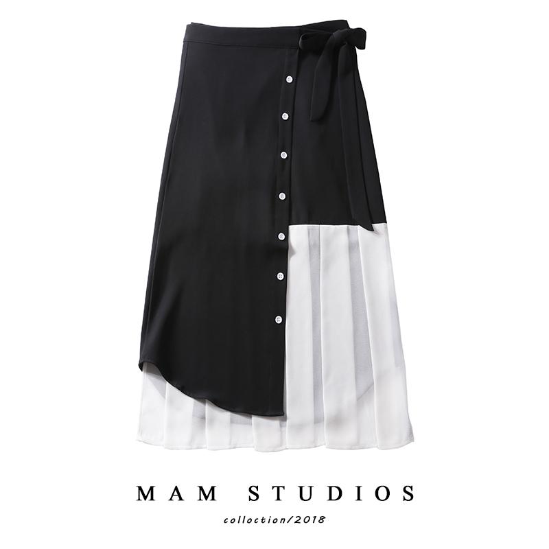 自制一片式黑白拼接半身裙高腰系带排扣压褶不规则裙子女中长款潮