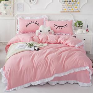 Mùa hè màu rắn bộ đồ giường cotton khăn trải giường bộ 4 bộ của sinh viên giường váy giường, bông lông mi bốn mảnh quilt cover