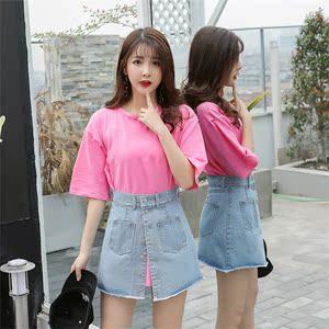 实拍2018春季新款韩版短袖t恤省心搭配女神范牛仔短裙休闲两件套