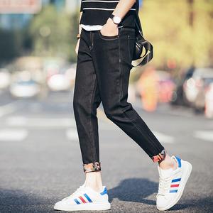 日系男士小脚牛仔裤学生青少年韩版修身男装夏季薄款九分裤潮牛仔