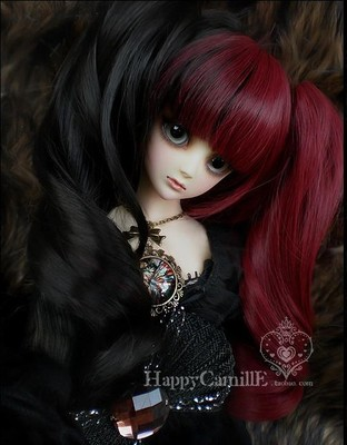 taobao agent BJD/SD doll 4 points hair wig/high temperature wire HT-tiger card double whip curly hair black/red 1/4