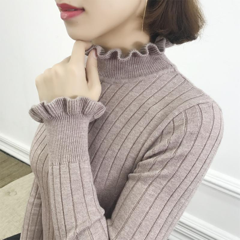 半高领毛衣女打底衫长袖秋冬百搭修身2018时尚新款套头韩版针织衫