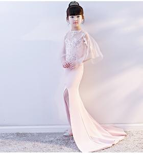 2018 mới màu hồng ren cô gái dài ăn mặc mỏng khí trẻ em quần áo đàn piano thời trang chia đuôi cá
