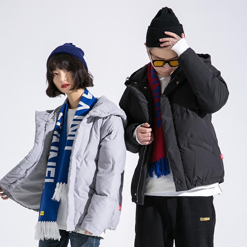 Ẩn trong thành phố xu hướng mùa đông cá tính màu sắc rắn đội mũ trùm đầu đệm bông người đàn ông lỏng thủy triều thương hiệu vài bông áo khoác