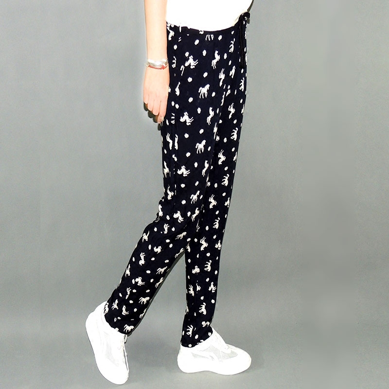 Nhân tạo quần cotton quần của phụ nữ mùa hè kích thước lớn sợi quần sợi in ấn cotton lỏng lụa thường bông lụa chất béo MM hậu cung quần