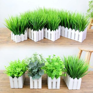 Artificial flowers and plants, fake green plants, fake flowers ornaments, indoor living room window sill decoration, wooden fence, fake green sill potted plants