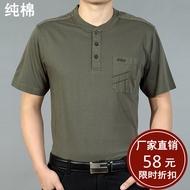 Mùa hè trung niên nam ngắn tay t-shirt vòng cổ bông kích thước lớn lỏng màu rắn phần mỏng trung niên cha đầm áo sơ mi