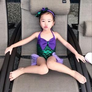 Trang phục nàng tiên cá bé gái cô gái một mảnh áo tắm công chúa trẻ sơ sinh áo tắm cô gái trẻ em áo tắm dễ thương