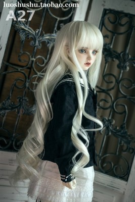taobao agent Falling A27 spring roll 3 points BJD doll wig high temperature silk long curly hair three tops