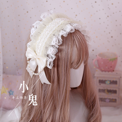 taobao agent Multicolor original hand-made Lolita headband gorgeous lace soft girl hair accessories cat and love letter lolita angel handle kc