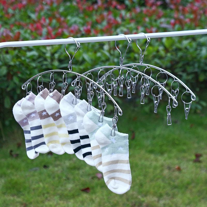 防风加粗袜架不锈钢多功能夹子衣架简易晾衣架学生宿舍儿童袜子架