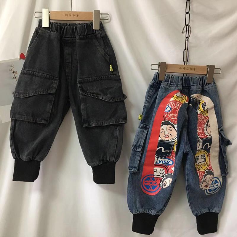 Quần jean nam mùa xuân và mùa thu 2020 mới của Hàn Quốc mặc quần yếm in hình cá tính cho trẻ em - Quần jean