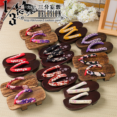 taobao agent Three-point delusion cos accessories universal clogs two teeth half moon cherry blossom bottom kimono Japanese clogs cospaly shoes