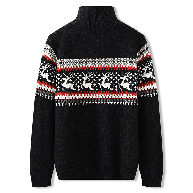Winter large mens sweater with plush and thickened half high collar zipper and fat sweater fat sweater large