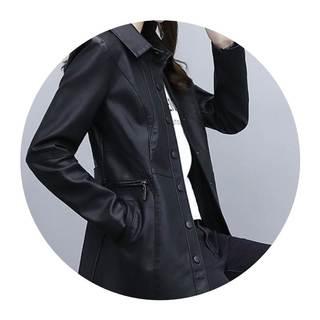 中长款皮衣女2020秋冬装新款女装韩版时尚修身机车皮夹克外套女