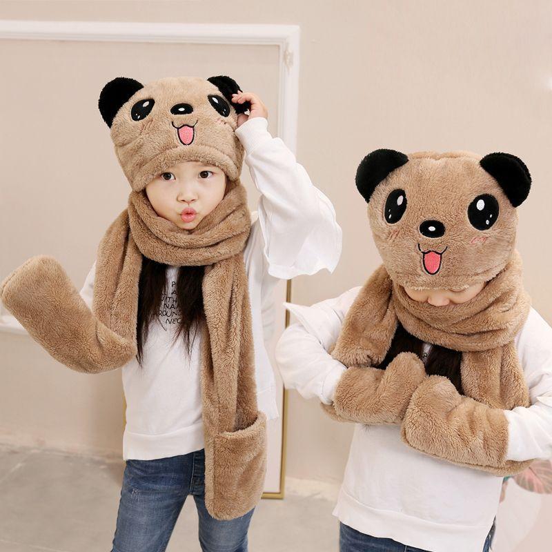 秋冬季儿童围巾帽子手套三件套一体宝宝男女童保暖围脖加厚学生36