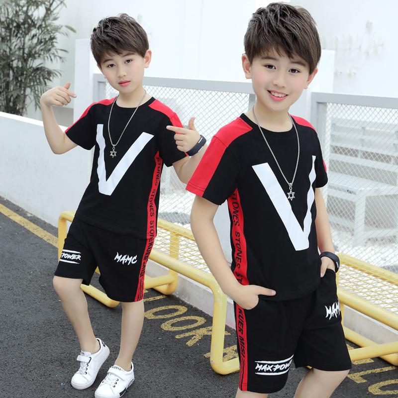二十九号两件套纯棉潮男童夏装套装2019童装儿童中大韩版夏季男孩