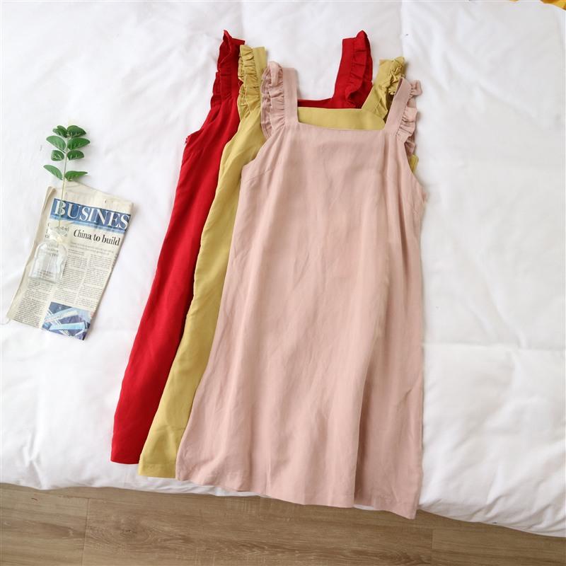 天使女装夏季新款无袖褶边修身显瘦吊带连衣裙51034