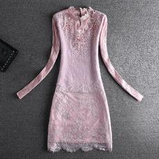 17冬新款打底衫裙貂毛订珠绣花蕾丝加绒连衣裙8234A705p95