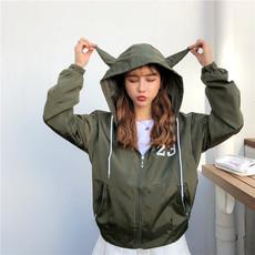 [实拍929B]2018秋季新防水布短外套学院风连帽夹克宽松开衫上衣女