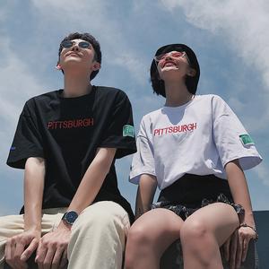 炒鸡好看~18/夏 ins超火韩版男女宽松上衣情侣短袖t恤 Y507P35
