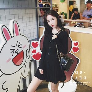 5199秋季新款女装韩版显瘦黑色裙子小香风粉色长袖针织秋冬连衣裙