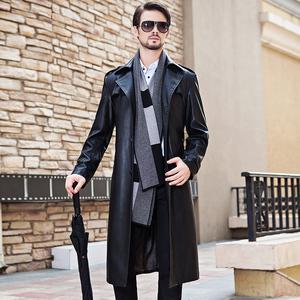 Haining 2017 mùa thu và mùa đông mới da dài da kích thước lớn da áo gió nam phù hợp với cổ áo Slim dài áo khoác da