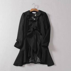 Nhật bản lá sen cổ áo phần dài mùa đông phong cách mới thời trang mỏng hoang dã áo len OL khí eo coat