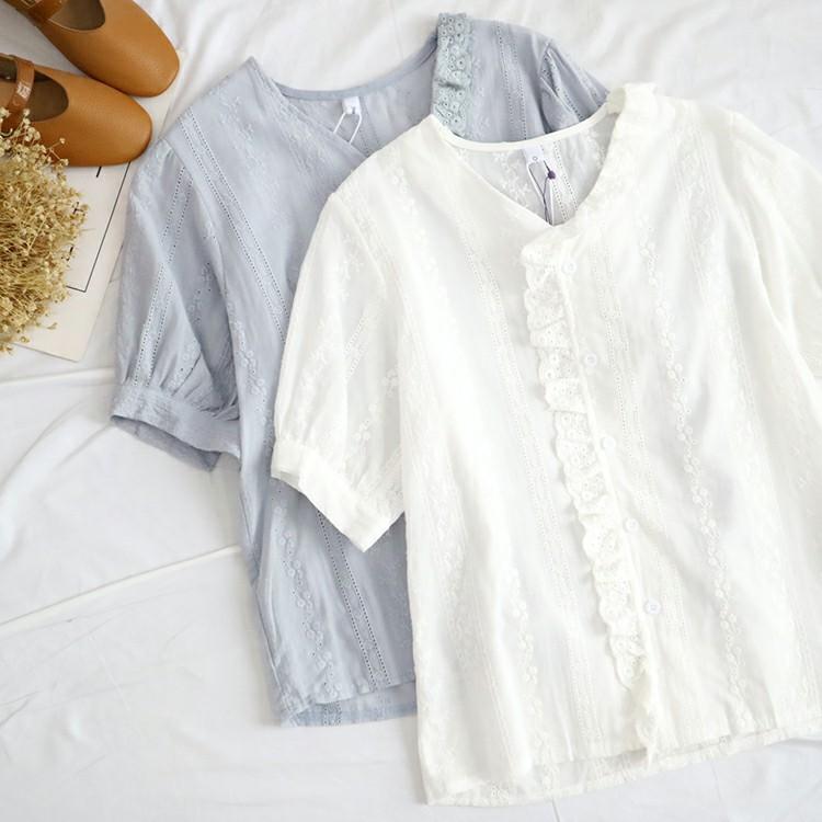 V1-2 Thiên Thần cửa hàng mùa thu và mùa đông đào mới tim cổ áo ngắn tay áo ren khâu hollow thêu áo 43063