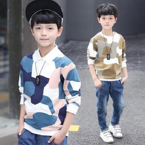 宅时尚2018春新款男童T恤韩版圆领迷彩打底中大童上衣
