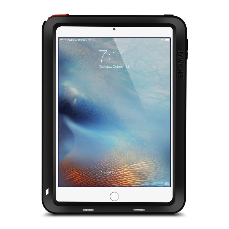 LOVE MEI Powerful Water Resistant Shockproof Dust/Dirt/Snow Proof Aluminum Metal Outdoor Gorilla Glass Heavy Duty Case Cover for Apple iPad mini 4