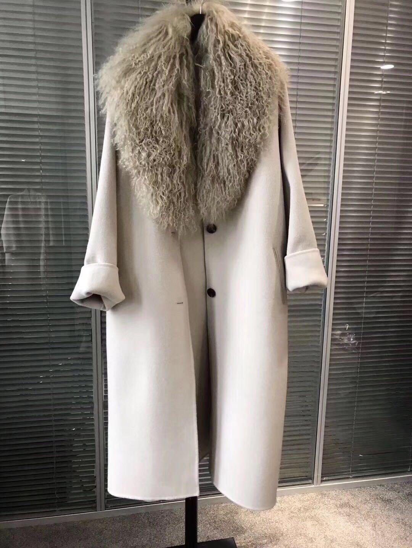 Chống mùa Châu Âu trạm 2018 bãi biển len cổ áo dài len coat coat dài tay áo lỏng mỏng của phụ nữ quần áo