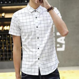 夏季短袖男士衬衫格子商务青年职业免烫衬衣休闲正装修身潮094