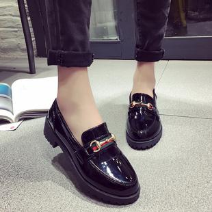 Черный случайный малый кожаный обувной женщина британский колледж ветер корейский ножной футляр дикий обувь женская 2019 весна новый квартира обувь