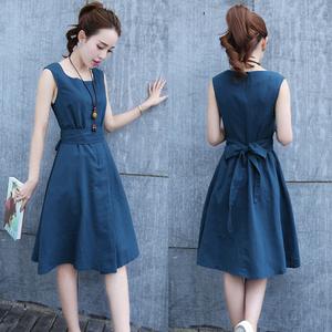 0011夏装新款韩版修身显瘦中长款棉麻透气无袖收腰连衣裙
