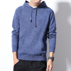 [Z5109 P70]~模特白墙~春季男士纯色连帽套头大码针织毛衣
