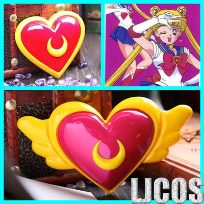 taobao agent 【LJCOS】cosplay props Sailor Moon Moon Hare Chest Ornament Wings Moon Heart Emblem