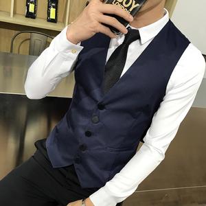 8702*男女同款纯色单排扣大码理发店营业员KTV马甲工作服外套P35