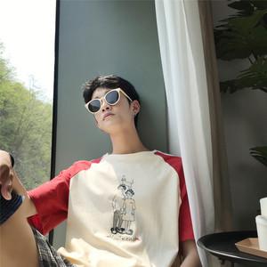 2018夏款短袖T恤男士卡通印花P拼接潮流短t恤XZ408-2-S80-P35