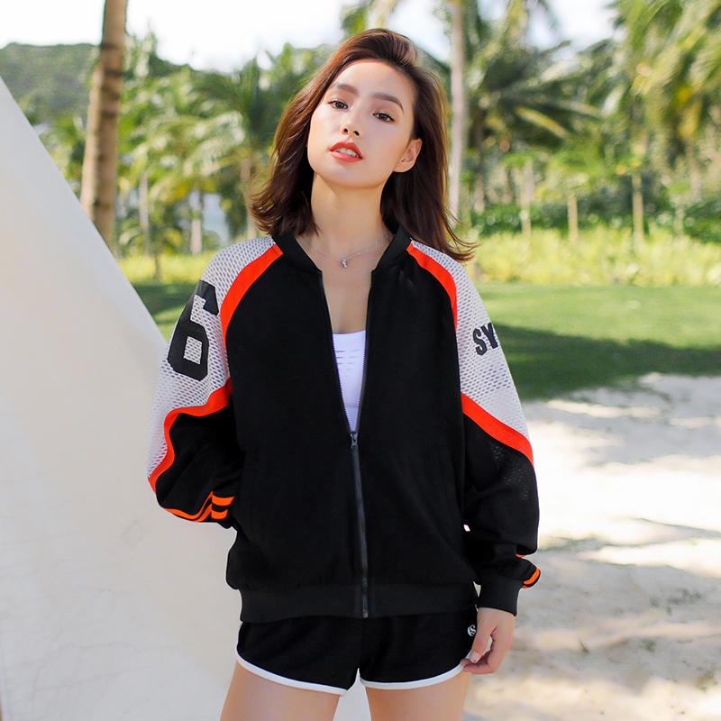 Runaway Loli đứng cổ áo khoác thể thao phụ nữ áo khoác mùa xuân lỏng nhanh chóng làm khô thoáng khí dây kéo chèn túi bóng phù hợp với mới