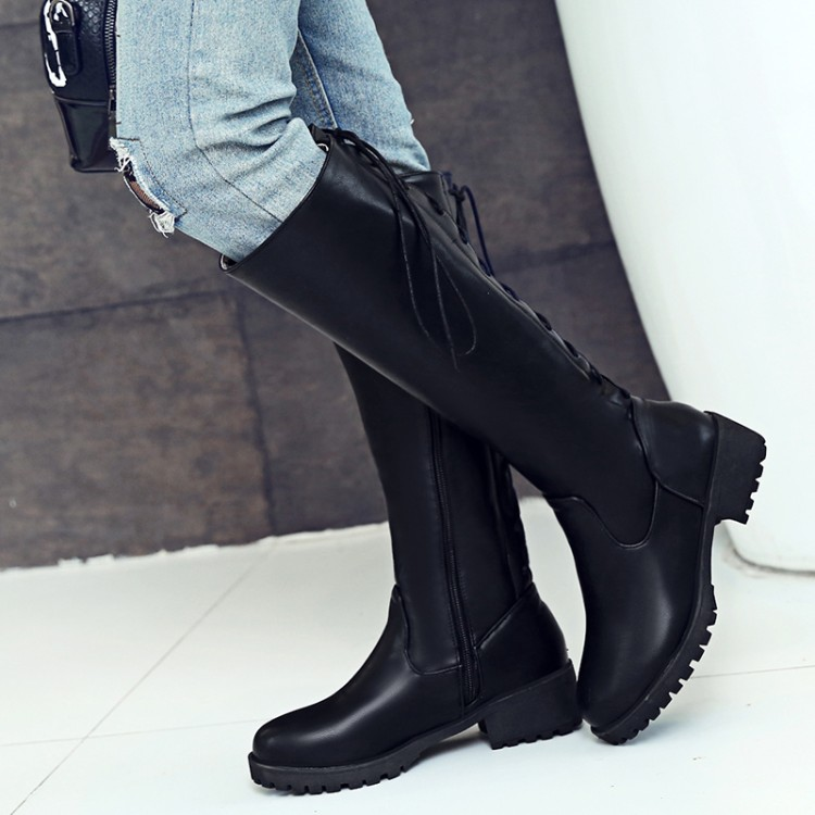 Gothic Womens Riding Knee High Boots Lace Up Leather Low Chunky Heels shoes size