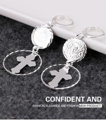 日韩国复古新款十字架大圈圈银色耳环欧美女长款夸张耳饰镀厚银