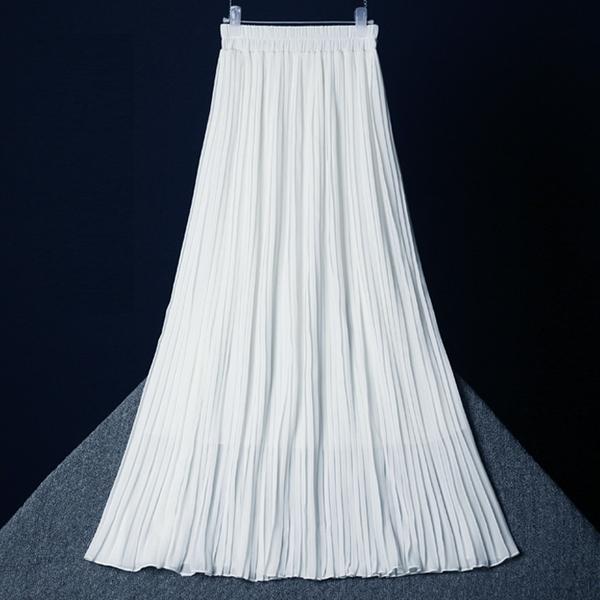 Шифон юбка женщина лето 2020 новый черный белый высокой талия длина драпировка эластичные плиссированная юбка платье