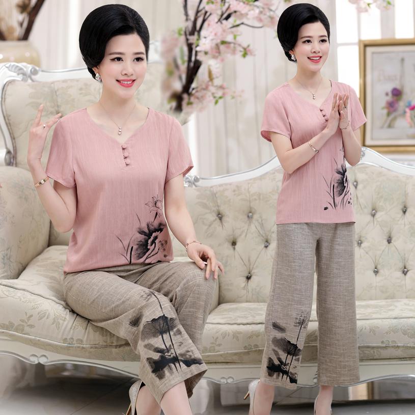 Phụ nữ trung niên bông lụa ngắn tay áo thun nửa chiều dài quần hai mảnh phù hợp với mùa hè mẹ mặc bông và bộ vải lanh quần áo