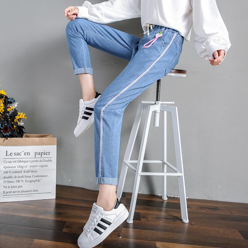 韩版大童12初中13高中学生14-16岁牛仔九分裤夏季女孩宽松少女裤