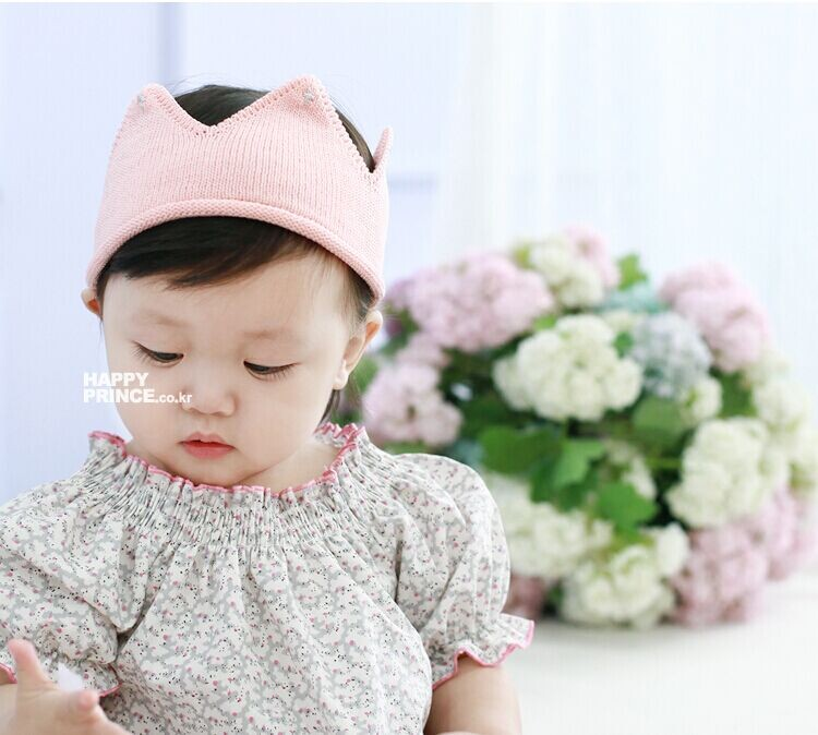 93a7ca20856 Baby Knit Crown Tiara Kids Infant Crochet Headband cap hat birthday party  Photography props Beanie Bonnet