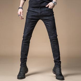 男士牛仔裤弹力小脚裤黑色休闲长裤子男裤子