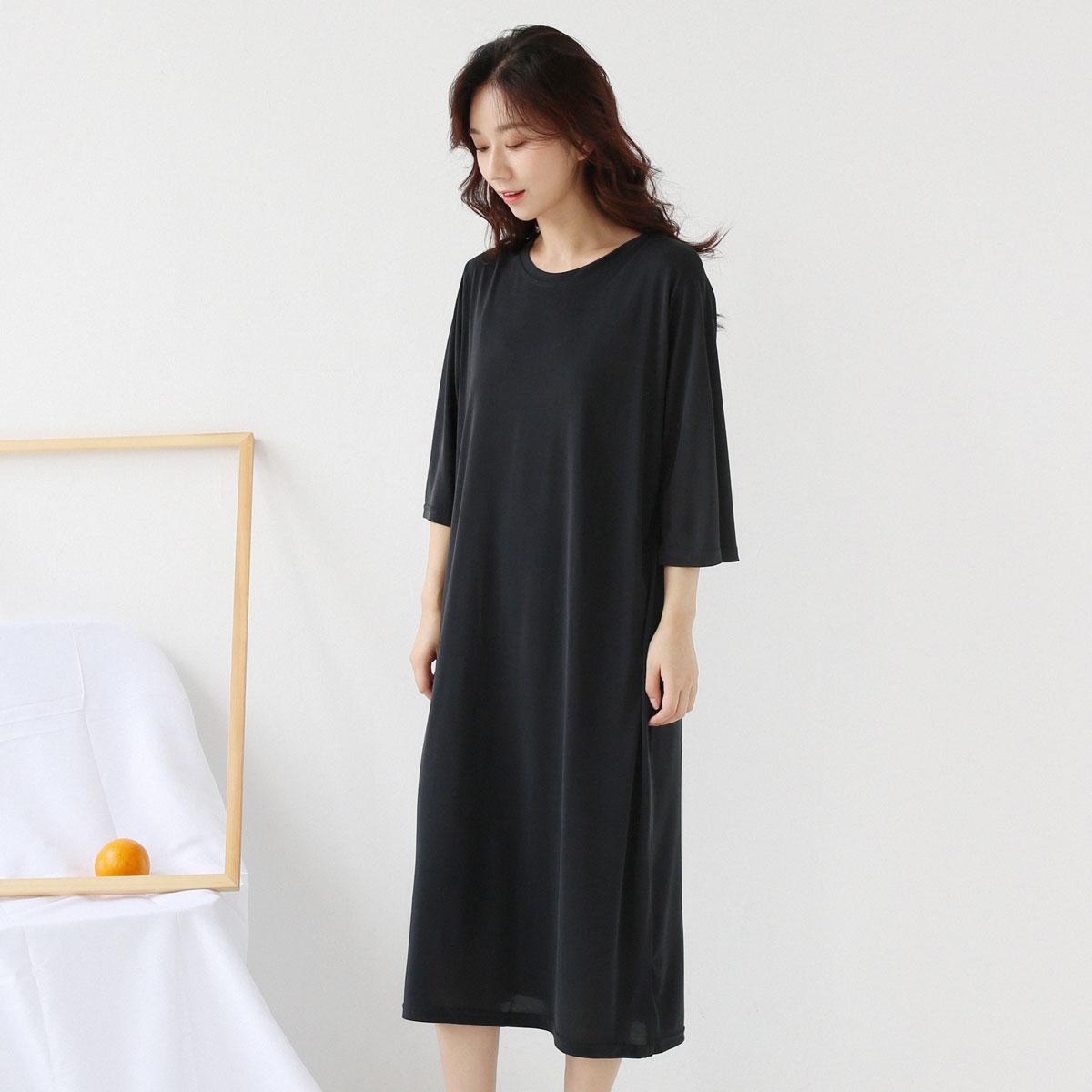 Miki xã hội Nhật Bản đơn giản gió lạnh vòng cổ lỏng màu rắn đồng ammonia nửa tay áo váy trên đầu gối váy váy
